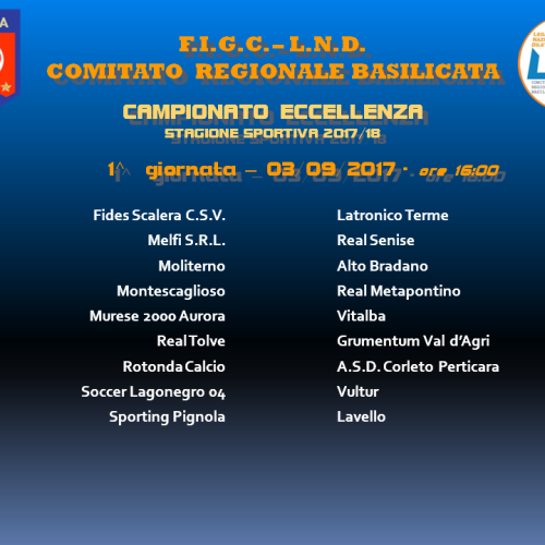 Eccellenza: il calendario del Campionato 2017/18