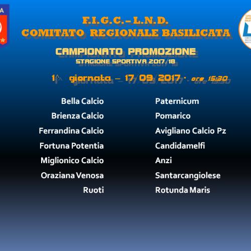 Promozione: il calendario del Campionato 2017/18