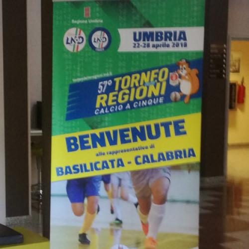 TdR Calcio a 5, striscione di benvenuto per le Rappresentative del CRB