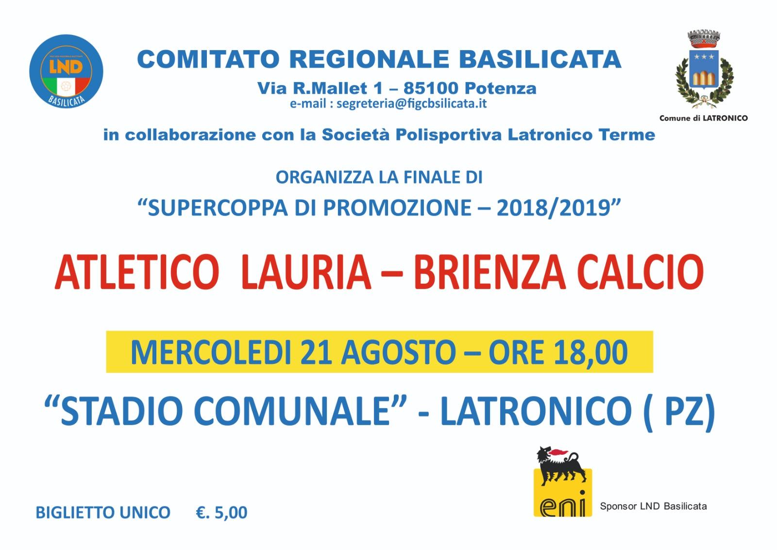 Supercoppa di Promozione, il 21 agosto a Latronico